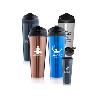 Stainless Steel Travel Mugs w/ Plastic Liner and Lid