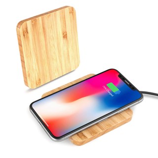 Square Wooden Bamboo Wireless Charger