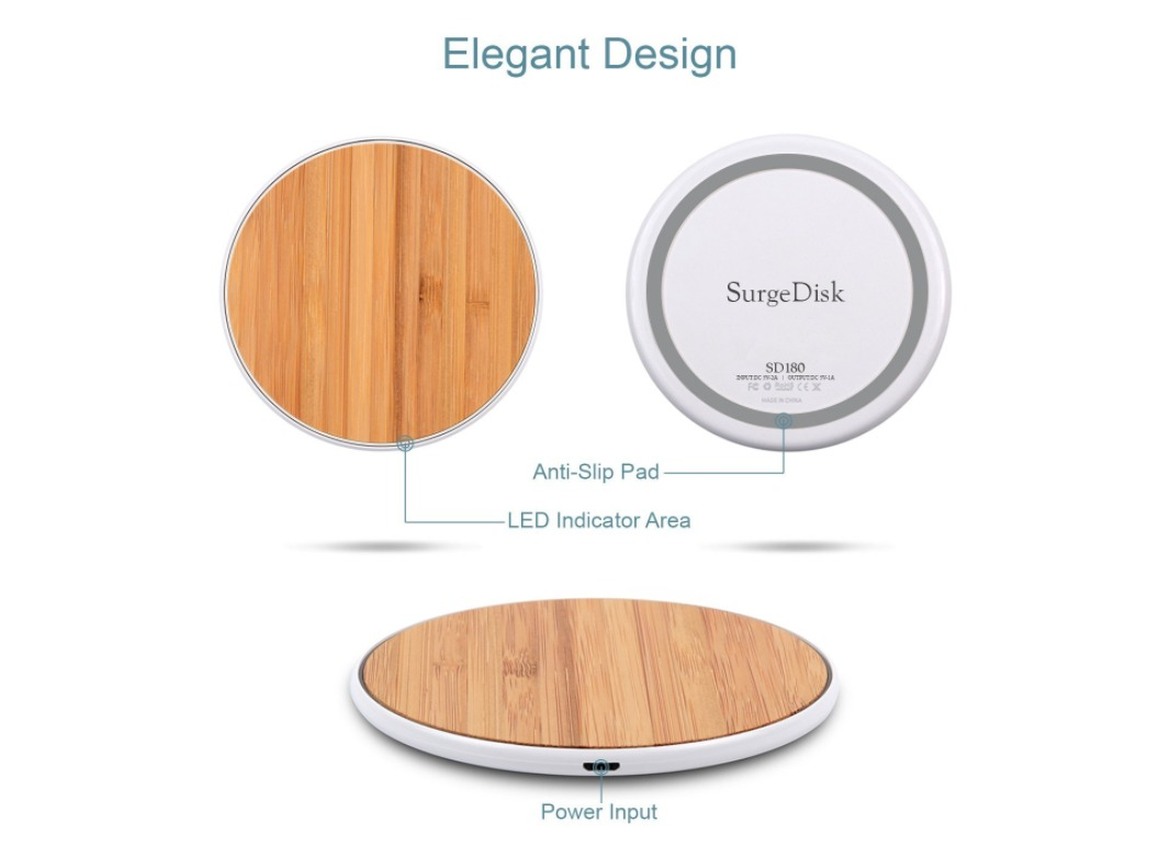 Universal Wood Color Wireless Charging Pad Inductive Fast Charger
