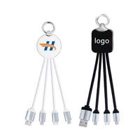 4 in 1 LED Light-up Logo USB Charging Cable Keychain